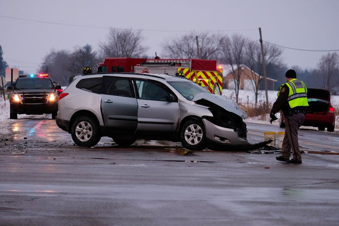 A two-vehicle crash in Kimball Township Monday morning resulted in serious injuries.
