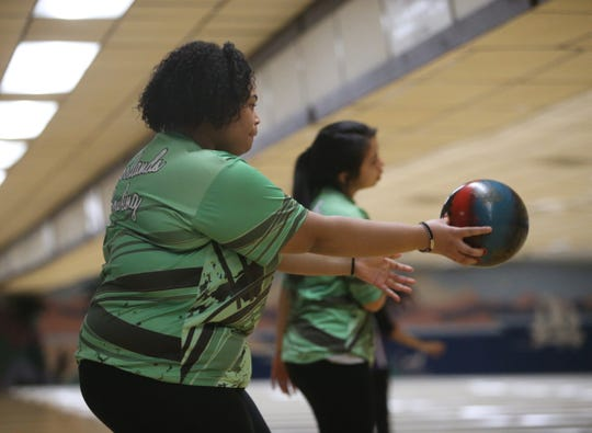 Woodlands' Crysol Polanco during the Section I girls bowling championships in Fishkill on February 10, 2020.
