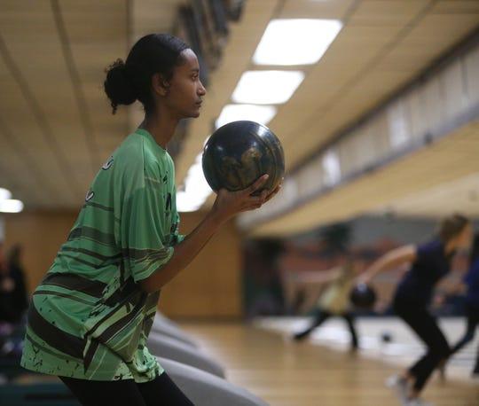 Woodlands' Mariam Eshetu during the Section I girls bowling championships in Fishkill on February 10, 2020.