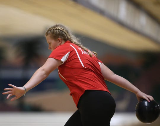 North Rockland's Nancy Kohut during the Section I girls bowling championships in Fishkill on February 10, 2020.