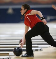 North Rockland's Isabella Palamaro during the Section I girls bowling championships in Fishkill on February 10, 2020.