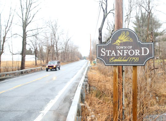 A sign on Route 82 welcoming motorists to the Town of Stanford on February 10, 2020.