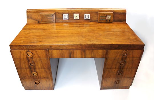 Desk designed by Count de Sakhnoffsky for the 1939 World's Fair and manufactured by the Red Lion Table Company.