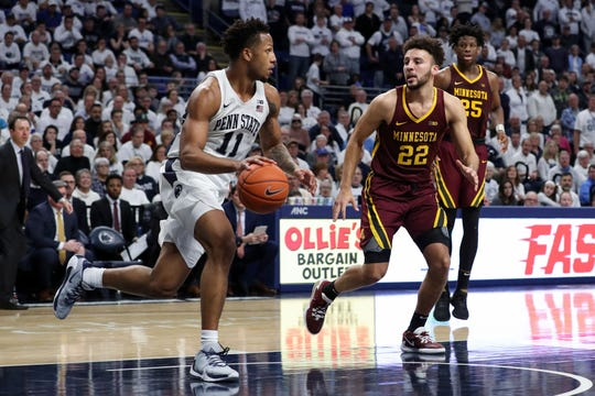 Minnesota's Gabe Kalscheur defends Penn State forward Lamar Stevens on Saturday.