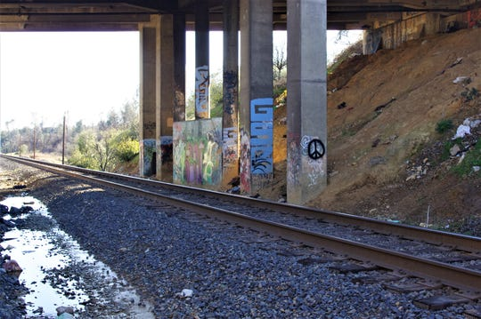 A male sitting on the railroad tracks under the Lake Boulevard bridge was struck and killed by a train Sunday morning, according to police.