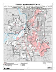 A map of proposed areas allowing camping in Salem.