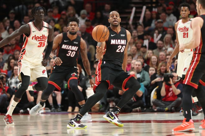 Miami Heat Andre Iguodala (28) reacts after regaining control of the ball Portland Trail Blazers in the second half at Moda Center.