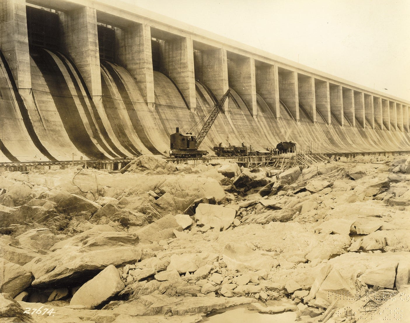 In this photo taken Sept. 27, 1928, the Conowingo Dam is shown under construction. The dam was erected between 1926-1929 upon a rock formation of granite and diorite.