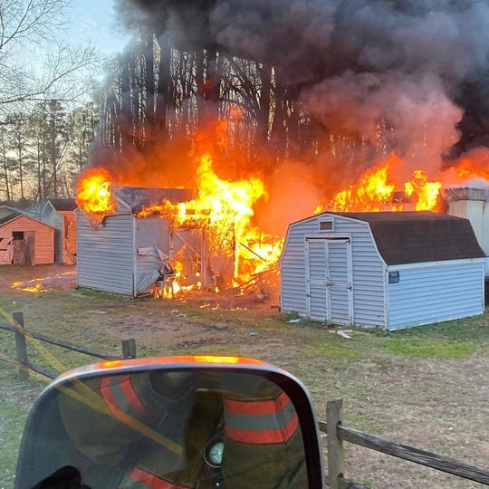 A photo from Salisbury Fire Department shows flames engulfing a structure at Green Meadows mobile home park in Delmar on Sunday, Feb. 9.