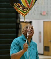 Parkside girls basketball coach Warren White celebrates after winning his 400th career game on Monday, Feb. 10, 2020.