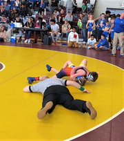 Delmar Middle School athlete Trey Twilley wrestles at the conference championship on Saturday, Feb. 1, 2020.