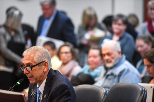 Rep. Fred Deutsch, the prime sponsor of House Bill 1057, discusses the bill before the South Dakota Senate committee on Monday, Feb. 10, 2020 at the state Capitol in Pierre, S.D.