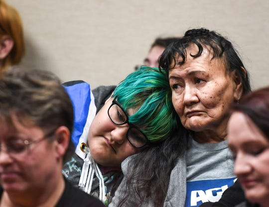 Maria Stands and Helia Brings Plenty attend the South Dakota Senate committee hearing of House Bill 1057  in support of transgender rights on Monday, Feb. 10, 2020 at the Capitol in Pierre, S.D.