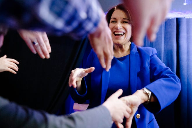 """Democratic presidential candidate Sen. Amy Klobuchar, D-Minn., arrives at """"Our Rights, Our Courts"""" forum New Hampshire Technical Institute's Concord Community College, Saturday, Feb. 8, 2020, in Concord, N.H."""