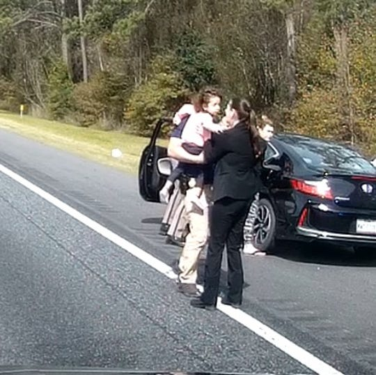 "FDLE tweeted out this photo and wrote ""The moment our agents recovered Madeline Mejia this morning! Thanks to our law enforcement partners and everyone else who helped to swiftly and successfully resolve this AMBER Alert."""