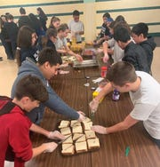 Bishop Schad Regional School students celebrated Catholic Schools Week by completing a peanut butter and jelly sandwich service project to benefit homeless people who visit Joseph's House of Camden.