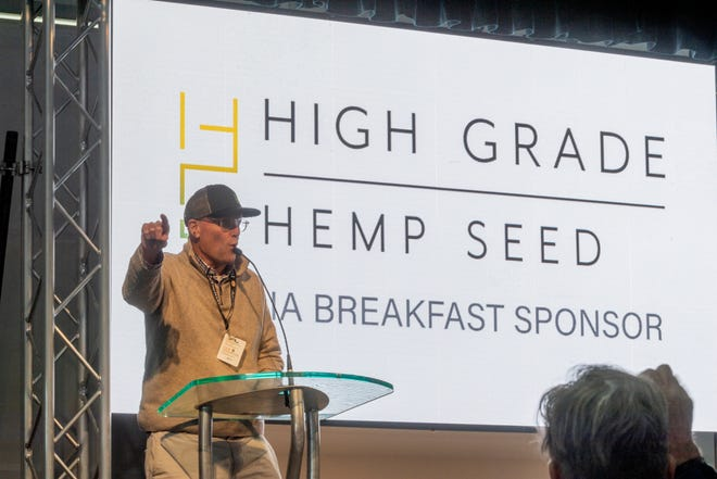 Mike Reid speaks during Hemp Media Day at World Ag Expo on Monday, February 10, 2020.