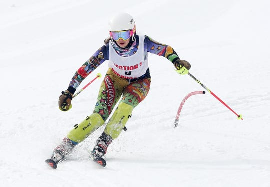 John Jay/North Salem's Ashley Binette competing in the Section 1 skiing championships at Hunter Mountain Feb. 10, 2020.
