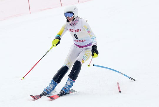 John Jay/North Salem's Kristin Wolfe competing in the Section 1 skiing championships at Hunter Mountain Feb. 10, 2020.