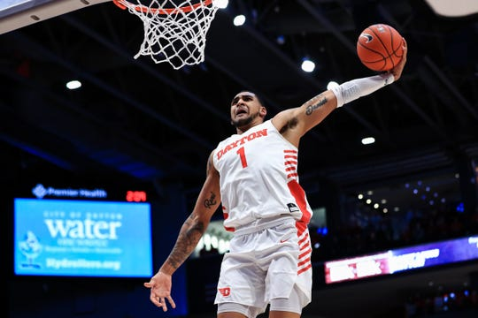 Feb 8, 2020; Dayton, Ohio, USA; Dayton Flyers forward Obi Toppin (1) dunks the ball against the Saint Louis Billikens in the first half at University of Dayton Arena. Mandatory Credit: Aaron Doster-USA TODAY Sports