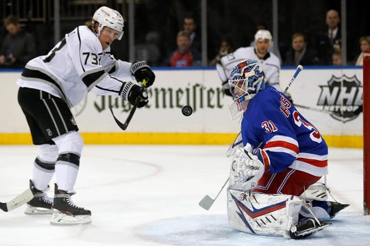 New York Rangers goaltender Igor Shesterkin (31) makes a save on a shot by Los Angeles Kings right wing Tyler Toffoli (73) in the first period of an NHL hockey game Sunday, Feb. 9, 2020, in New York. (AP Photo/Adam Hunger)