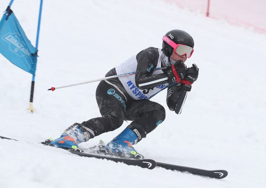 Mamaroneck's Charlie Roseberry on his way to winning the Boys Skimeister during the Section 1 skiing championships at Hunter Mountain Feb. 10, 2020.