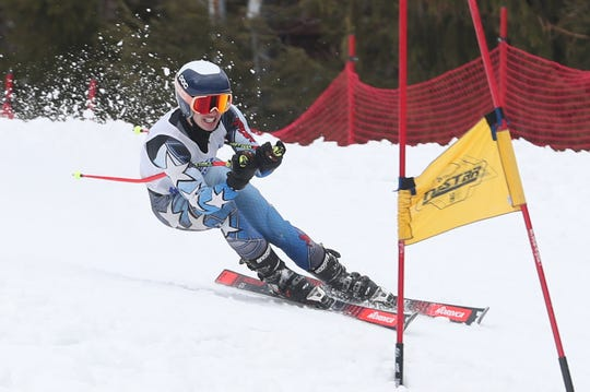 Mamaroneck's Cole Lovejoy competing in the Section 1 skiing championships at Hunter Mountain Feb. 10, 2020.