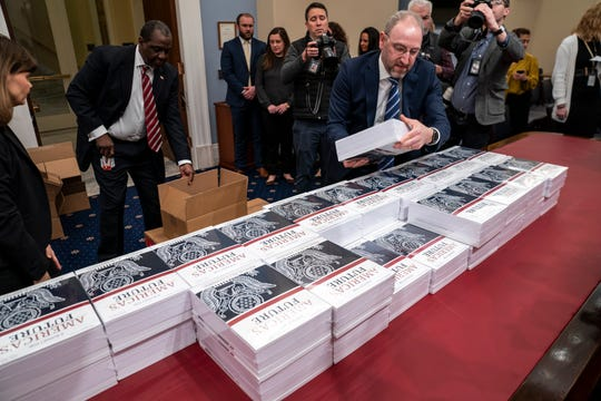 President Donald Trump's budget request for fiscal year 2021 arrives at the House Budget Committee on Capitol Hill in Washington.