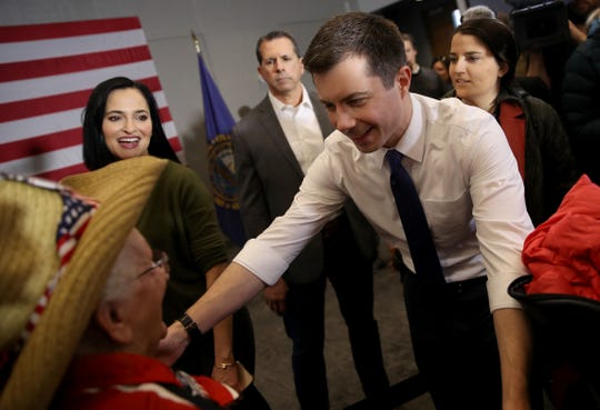 Democratic presidential candidate former South Bend, Indiana Mayor Pete Buttigieg greets 89 year old Pat Provencher of New Hampton, N.H, after Buttigieg spoke at a Meet Pete campaign event at Plymouth State University.