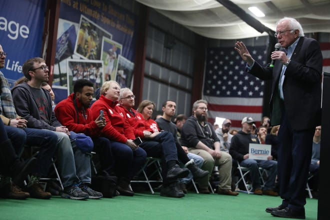 Democratic presidential candidate Sen. Bernie Sanders (I-VT) speaks during a campaign event the Ultimate Sports Academy in Manchester, N.H.