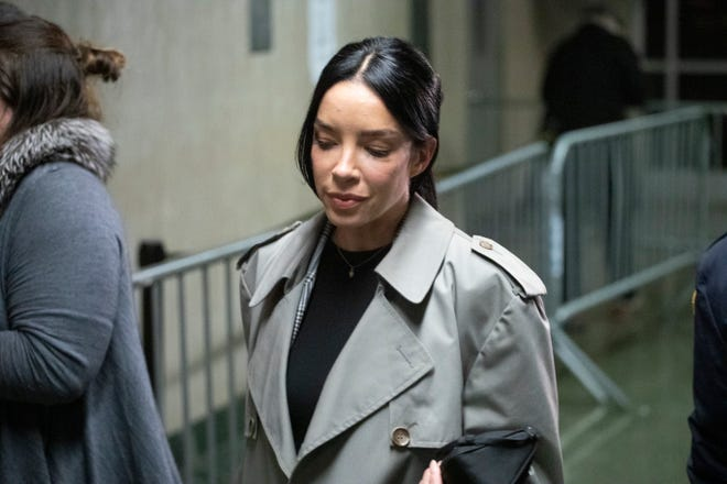 Mexican model Claudia Salinas leaves court after testifying in Harvey Weinstein's sex-crimes trial, Feb. 10, 2020 in New York.