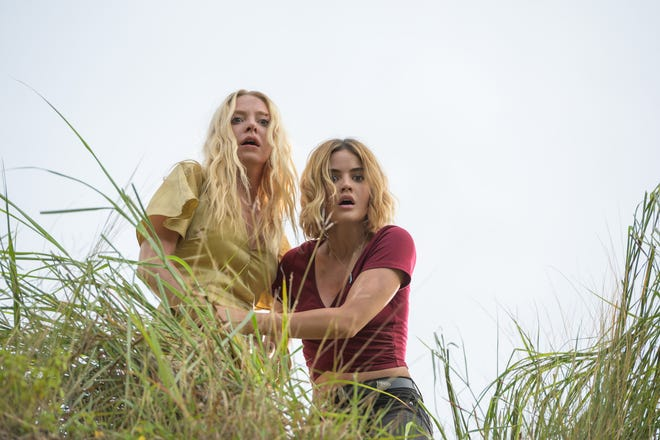 """Portia Doubleday (left) and Lucy Hale are visitors trying to survive various terrors in """"Blumhouse's Fantasy Island."""""""