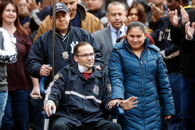 A police officer injured in a shooting is released at Lincoln Hospital on Feb. 9, 2020, in the Bronx.