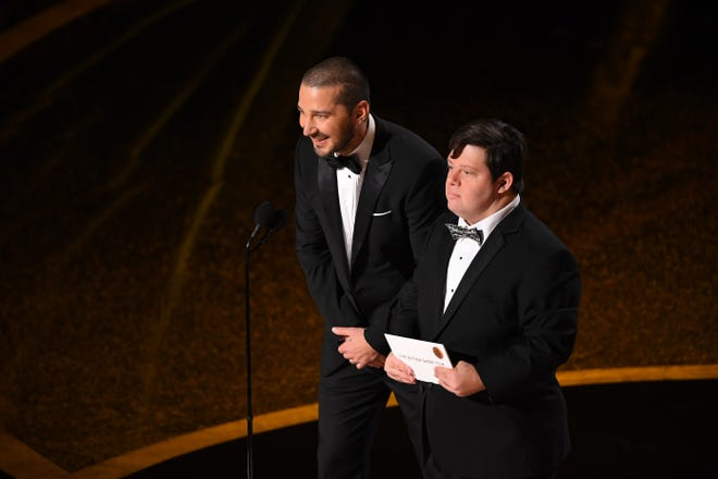 """The Peanut Butter Falcon"" actors Shia LaBeouf and Zack Gottsagen present at the Oscars Sunday."