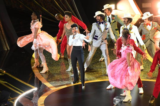 Janelle Monae performs during the opening of the 92nd Academy Awards at Dolby Theatre.