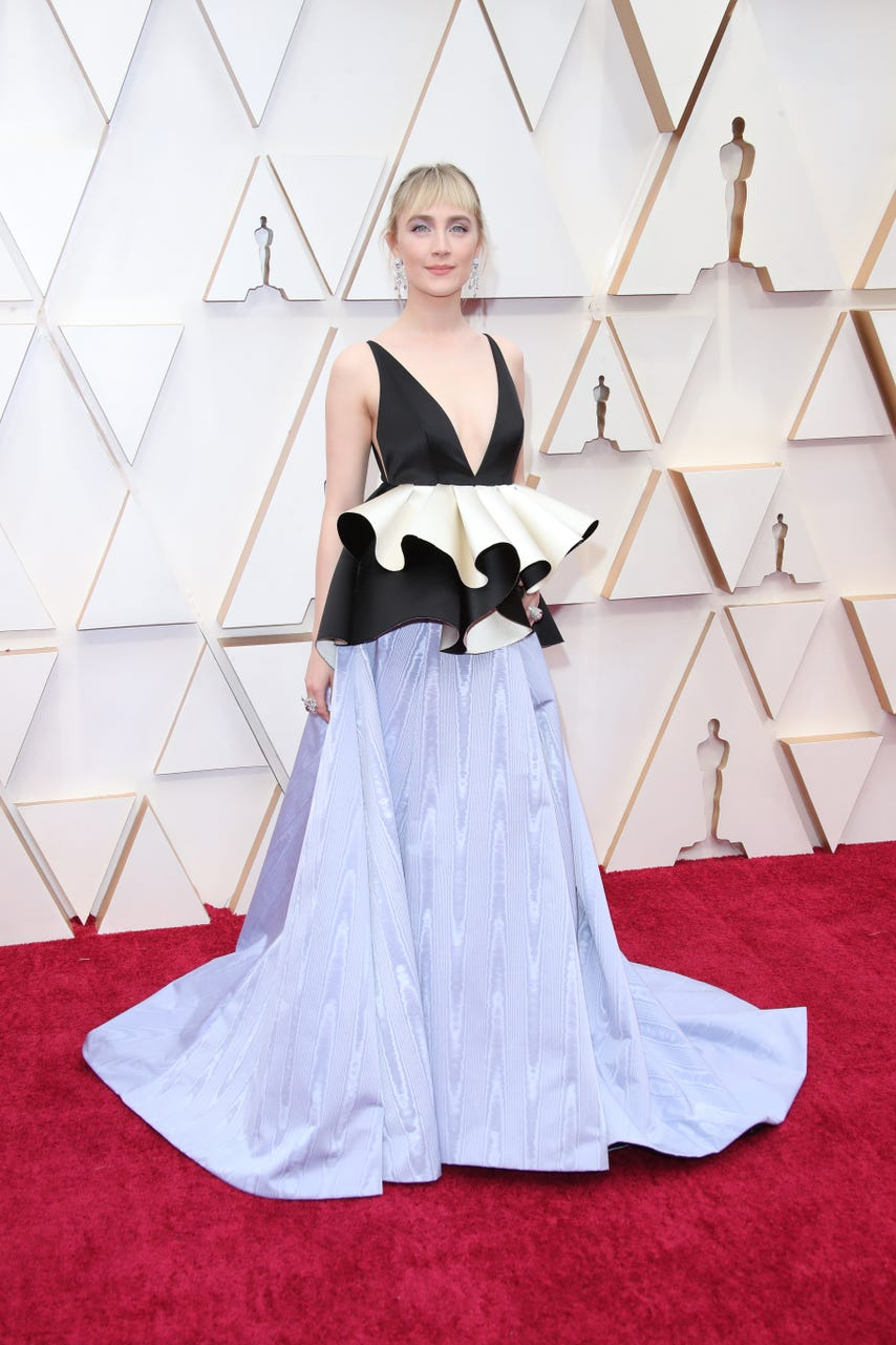 The nice thing about not being the Oscars frontrunner is you can show up looking like queen of the clown prom like Saoirse Ronan in Gucci and not worry about the look being immortalized.