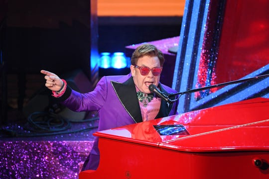 """Elton John belted out """"(I'm Gonna) Love Me Again"""" from """"Rocketman,"""" which went on to get him an Oscar for best original song."""