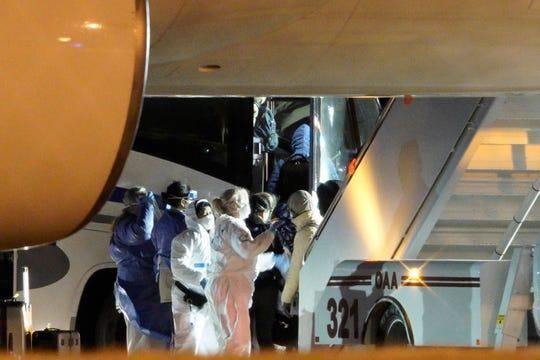American evacuees from the coronavirus outbreak in China arrives in Omaha, Nebraska, on Feb. 7, 2020.