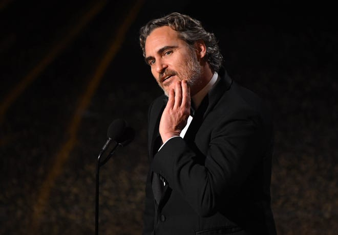 "Joaquin Phoenix accepts the award for best performance by an actor in a leading role for his role in ""Joker"" during the 92nd Academy Awards at Dolby Theatre."
