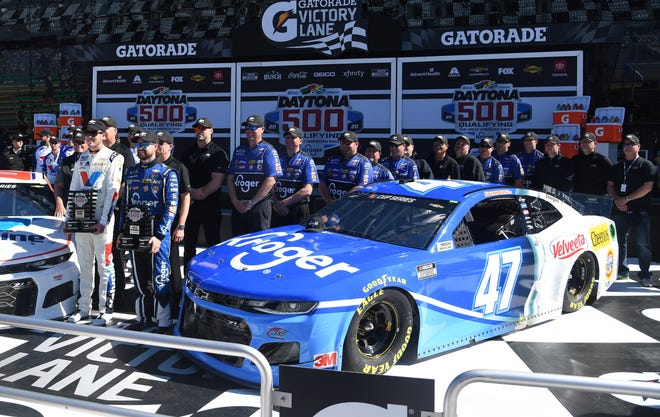 Ricky Stenhouse Jr. put his No. 47 Chevrolet on the pole for the 2020 Daytona 500. Alex Bowman, left, will start second in the No. 88 Chevrolet.