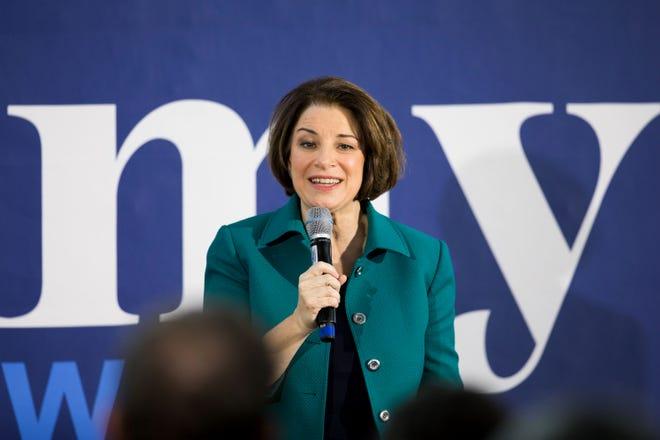 Sen. Amy Klobuchar, D-Minn., campaigns in Keene, New Hampshire, on Feb. 10, 2020.