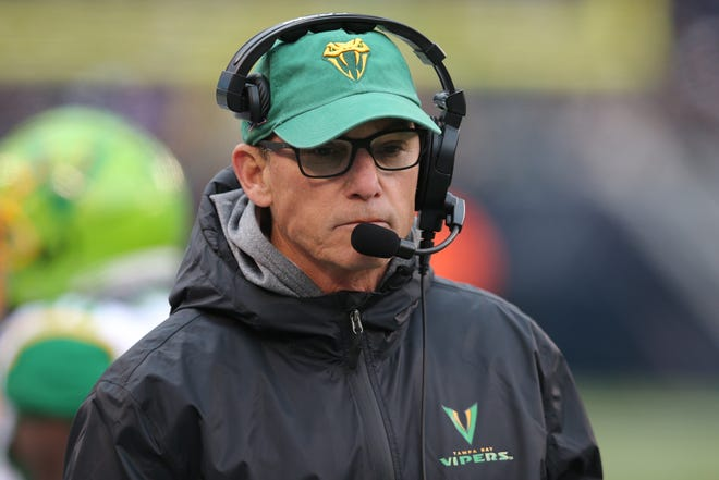 Tampa Bay Vipers head coach Marc Trestman coaches against the New York Guardians during the second quarter of their XFL game