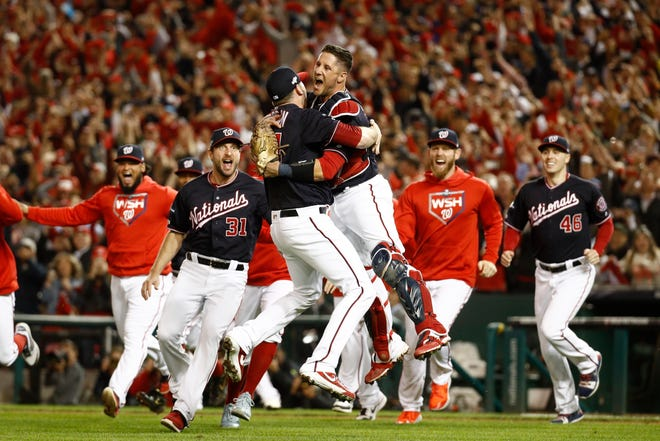 The Washington Nationals celebrate sweeping the National League Championship Series over the St. Louis Cardinals.
