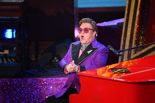 "Elton John performs his best original song ""(I'm Gonna) Love Me Again"" from ""Rocketman"" during the 92nd Academy Awards."