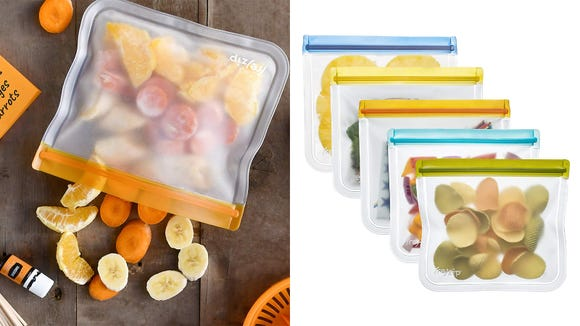 Put liquids in the TSA-approved Rezip Lay-Flat Lunch Leakproof Reusable Storage Bags.