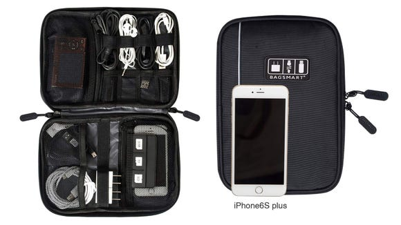 Eliminate the annoyance of tangled cords with the Bagsmart Electronic Organizer.