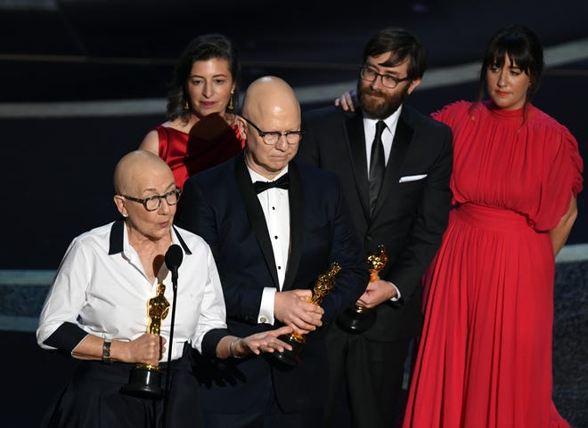 (L-R) Julia Reichert, Lindsay Utz, Steven Bognar, Jeff Reichert and Julie Parker Benello accept the Documentary - Feature - award for 'American Factory' onstage during the 92nd Annual Academy Awards at Dolby Theatre on February 09, 2020 in Hollywood, California.