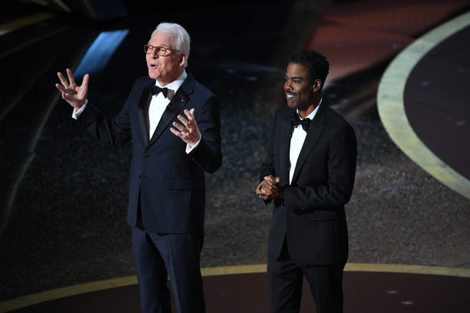 Steve Martin, left, and Chris Rock kick off the 92nd Academy Awards at Dolby Theatre.