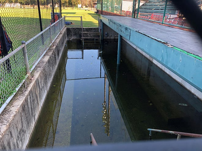 The first-base dugout at Bringhurst Field sits submerged Saturday afternoon. Bringhurst Field has not hosted a baseball game since 2013 after the city closed its grandstands due to their hazardous condition.