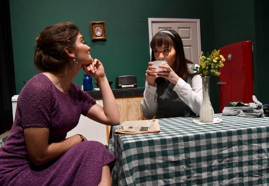 "Mariah Martin (left) and Emily Wooten rehearse a scene in ""Pack of Lies"" at Abilene Christian University."